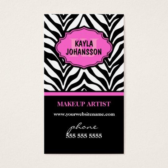 Elegant Zebra Print Monogram Business Cards