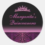 Elegant Zebra Print Quinceanera Sticker