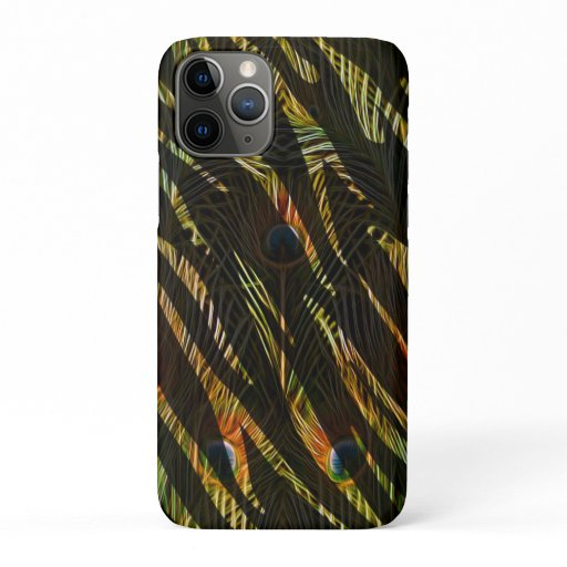 Elegant Zebra Stripe Animal Print Peacock Feathers iPhone 11 Pro Case