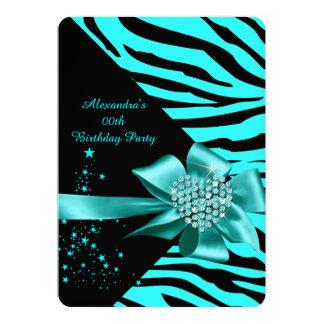 Elegant Zebra Teal Silver Heart Jewel Birthday Card