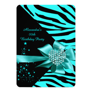 Elegant Zebra Teal Silver Heart Jewel Birthday 5x7 Paper Invitation Card