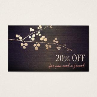 Elegant Zen Gold Branch Salon Customer Referral Business Card