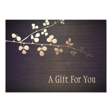 sm_business_cards Elegant Zen Gold Branch Spa Gift Certificate Card