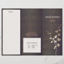 Elegant Zen Gold Branch Wood  Spa Trifold Brochure
