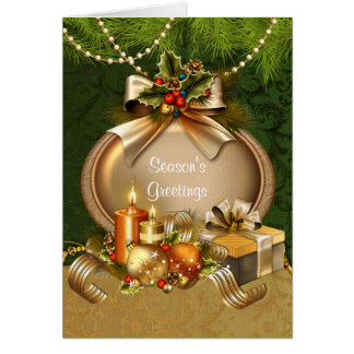 ElegantChristmas Candles and Ornaments Christmas Card