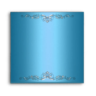 Elegante adornado de la plata azul del trullo del  sobre