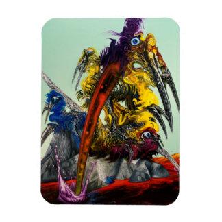 Elegante azul rojo del amarillo del arte visual de imán foto rectangular