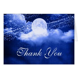 Elegante bajo claro de luna gracias tarjeta de felicitación