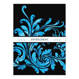Elegante Black & Blue Floral Vintage Custom Invite