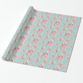 Elegante blanco azul elegante lamentable floral de papel de regalo