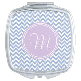 Elegante chevrón azul y monograma violeta espejo de viaje