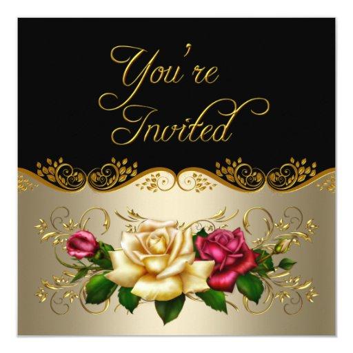 Elegante cuaesquiera rosas rojos del oro del café invitación 13,3 cm x 13,3cm