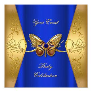 Elegante cualquier mariposa del oro del azul real