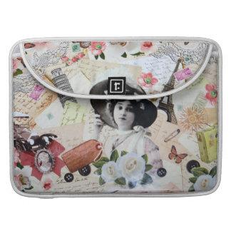 Elegante dama de época en collage de arte vintage fundas para macbooks
