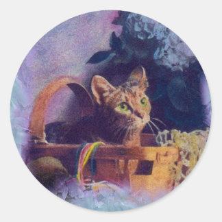 elegante el gato pegatina redonda