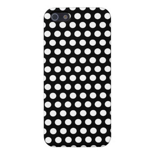 Elegante elegante retro de los puntos blancos negr iPhone 5 funda