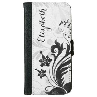 Elegante floral blanco negro personalizada carcasa de iPhone 6