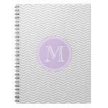 Elegante geometría de chevrón gris y monograma libro de apuntes
