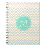 Elegante geometría de chevrón multicolor monograma cuadernos