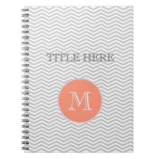 Elegante geometría de chevrón y monograma cuadernos