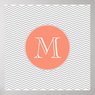 Elegante geometría de chevrón y monograma póster