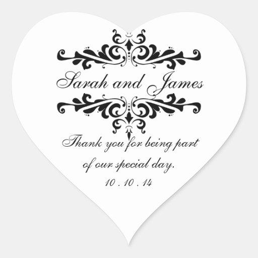 Elegante gracias corazón de los pegatinas del favo calcomanía de corazón personalizadas