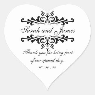 Elegante gracias corazón de los pegatinas del pegatina en forma de corazón