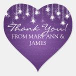 Elegante gracias las estrellas que rielan púrpuras pegatinas corazon