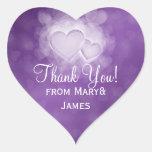 Elegante gracias los corazones modernos púrpuras colcomanias corazon personalizadas