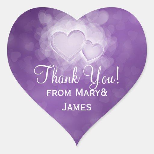 Elegante gracias los corazones modernos púrpuras calcomanías de corazones personalizadas