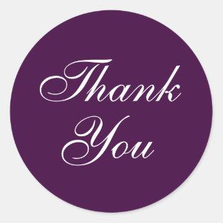 Elegante gracias los pegatinas en púrpura pegatina redonda