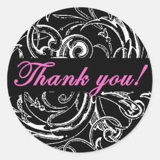 Elegante gracias los pegatinas en rosa y negro pegatina redonda