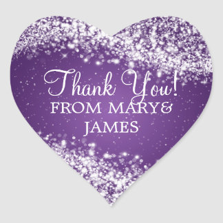 Elegante gracias púrpura chispeante de la onda pegatina en forma de corazón
