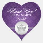 Elegante gracias púrpura real de la corona pegatina corazón personalizadas
