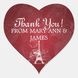 Elegante gracias rojo romántico de París Pegatina En Forma De Corazón
