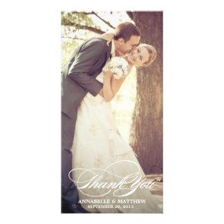 Elegante gracias Script la capa del boda Tarjeta Fotográfica Personalizada