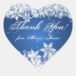 Elegante gracias zafiro del azul de los copos de pegatina en forma de corazón