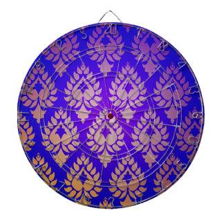 Elegante, hermoso, oro, añil, damasco, oriental, tablero de dardos