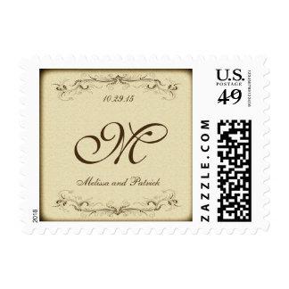 Elegante marrón claro del vintage timbre postal
