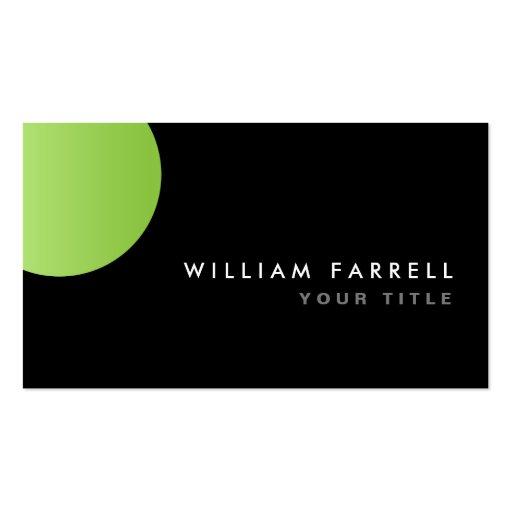 Elegante moderno del círculo negro de la verde tarjetas de visita