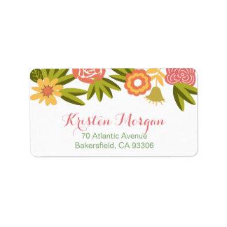 Elegante moderno floreciente de las flores del etiquetas de dirección