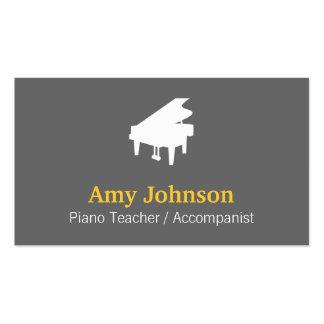 Elegante, moderno, profesional, profesor de piano plantilla de tarjeta de negocio