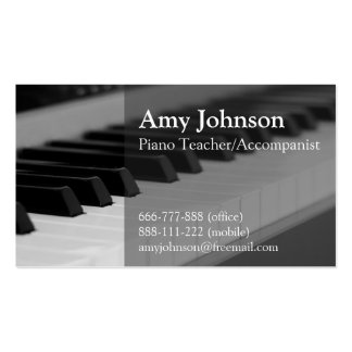 Elegante, moderno, profesional, profesor de piano tarjetas de visita