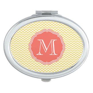 Elegante monograma coral sobre chevrón amarillo espejos compactos