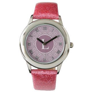 Elegante monograma de geometría púrpura relojes de pulsera