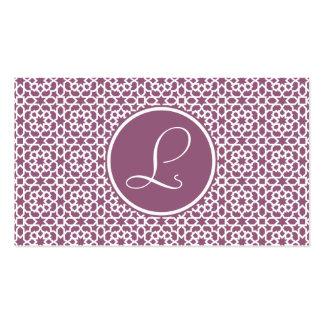 Elegante monograma de geometría púrpura tarjetas de visita
