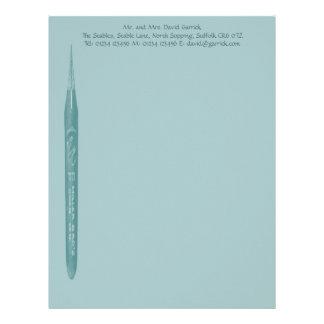 Elegante palidezca - semilla verde de la pluma - e membrete personalizado