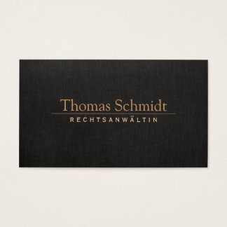 Elegante Rechtsanwalt Imitat schwarzem Leinen Business Card