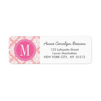 Elegante se ruboriza el damasco rosado etiquetas de remite