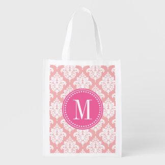Elegante se ruboriza el damasco rosado personaliza bolsa para la compra
